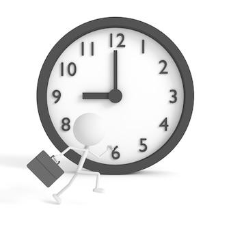 Esecuzione di uomo d'affari e orologio con il concetto di essere in ritardo
