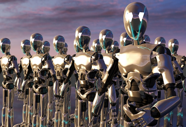 Esercito di robot android, rendering 3d