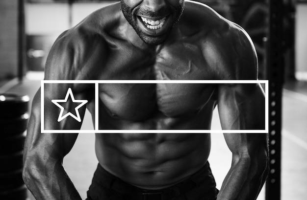 Esercizio fisico per la forza ottieni spazio per lo striscione pubblicitario