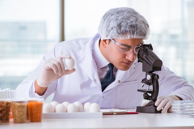 Esperto di nutrizione che prova i prodotti alimentari in laboratorio