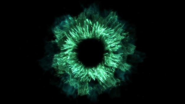 Esplodi lo sfondo. esplosione isolata. sfondo nero. onda d'urto rotonda. elemento astratto. colore verde.