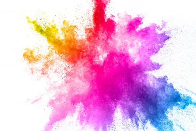 Esplosione di polvere colorata. spruzzata astratta delle particelle di polvere di colore pastello.