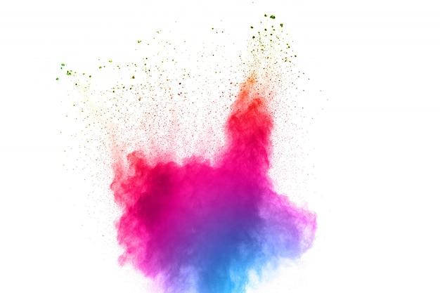 Esplosione di polvere di multi colore astratto su sfondo bianco