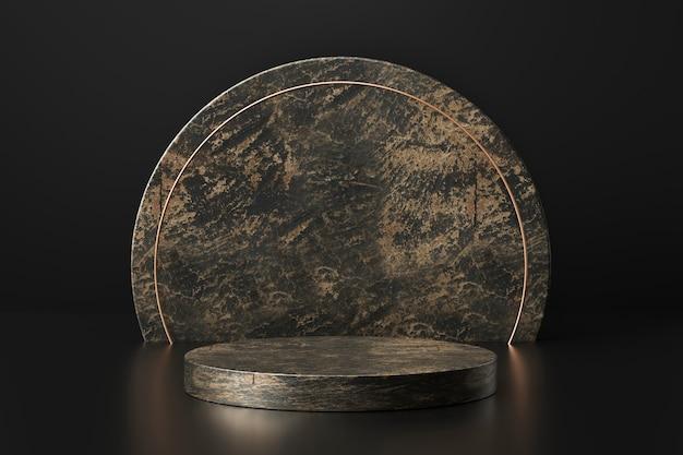 Espositore prodotto in marmo nero con forme geometriche. piedistallo o podio vuoti. rendering 3d.