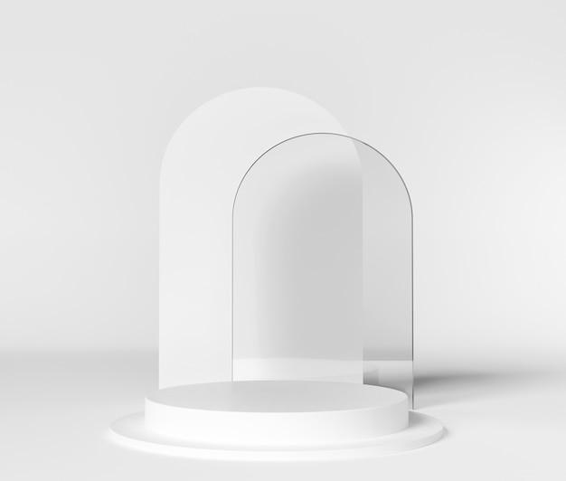 Espositore vuoto su podio o piedistallo per mostrare il prodotto su bianco con il concetto di supporto del cilindro.