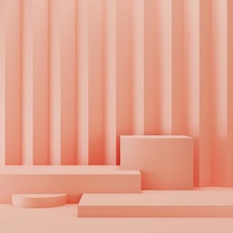 Esposizione astratta geometrica rosa del podio 3d. concetto di stile minimal