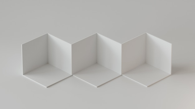 Esposizione del contesto dei contenitori del cubo bianco su fondo bianco. rendering 3d.