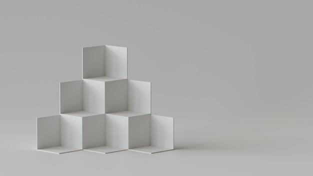 Esposizione del contesto delle scatole del cubo sul fondo in bianco della parete. rendering 3d.