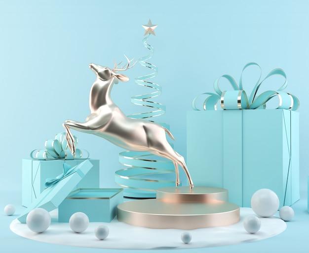 Esposizione del podio della scena della rappresentazione di natale 3d con il fondo astratto degli oggetti di natale.