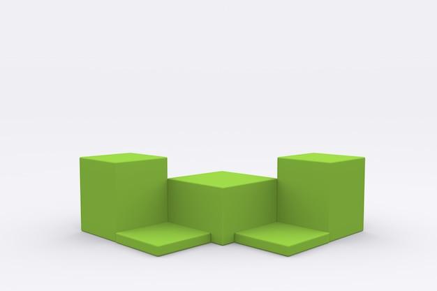 Esposizione del prodotto del podio della scatola verde rendering 3d del piedistallo della piattaforma