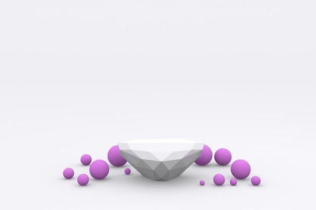 Esposizione del prodotto del podio di forma moderna bianca piedistallo della visualizzazione della piattaforma 3d rendering