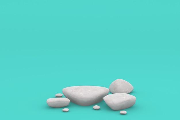 Esposizione del prodotto delle pietre rendering 3d del piedistallo della visualizzazione della piattaforma