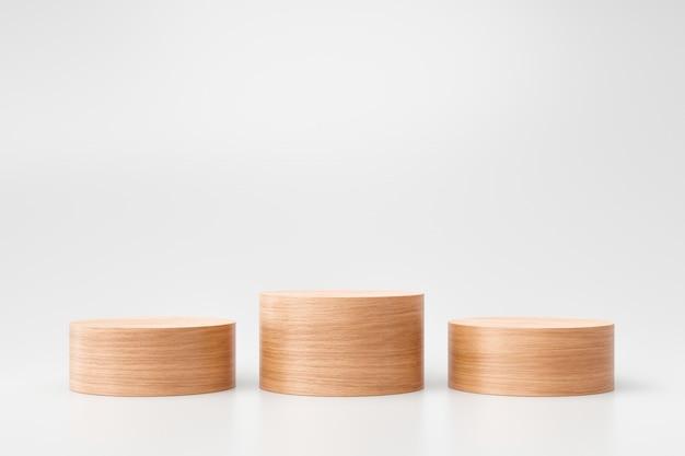 Esposizione di legno del prodotto o del piedistallo su fondo bianco con il concetto di presentazione. palco in legno sul podio. rendering 3d.