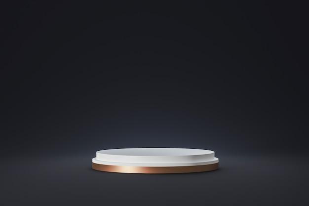 Esposizione moderna del piedistallo o del podio con il concetto della piattaforma su fondo scuro. supporto per mensola vuoto per mostrare il prodotto. rendering 3d.