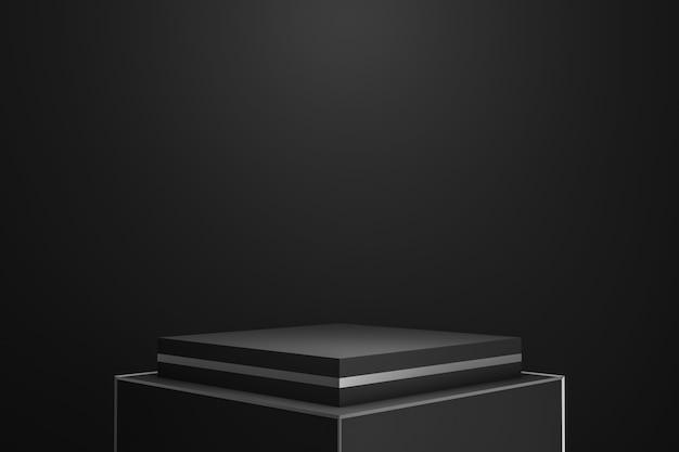 Esposizione moderna del piedistallo o del podio su fondo scuro con il riflettore che mostra concetto.