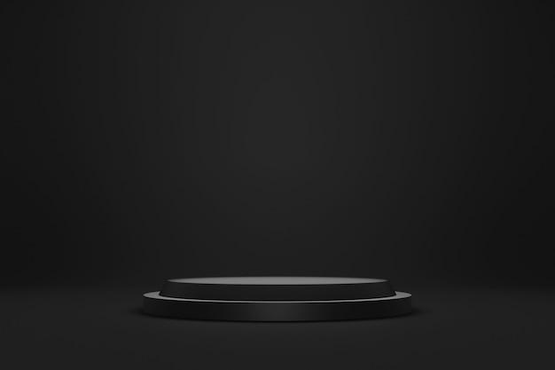 Esposizione nera del piedistallo o del podio su fondo scuro con il concetto del supporto del cilindro.