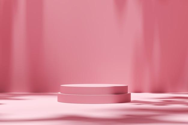 Esposizione vuota del prodotto dei fondali di scena della stanza su fondo rosa con ombra soleggiata in studio in bianco. piedistallo vuoto o piattaforma podio. rendering 3d.
