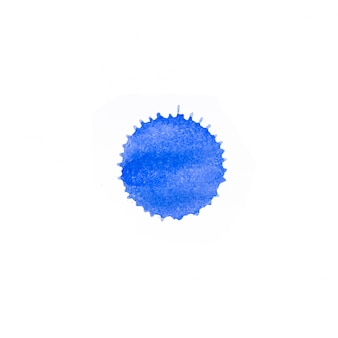 Espressiva macchia acquerello astratto con spruzzi e gocce di colore blu.