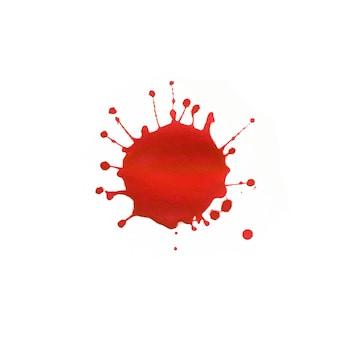 Espressiva macchia acquerello astratto con spruzzi e gocce di colore rosso.