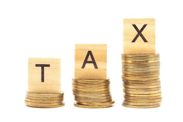 Esprima il concetto di imposta sul blocco di legno più sulle monete impilate.