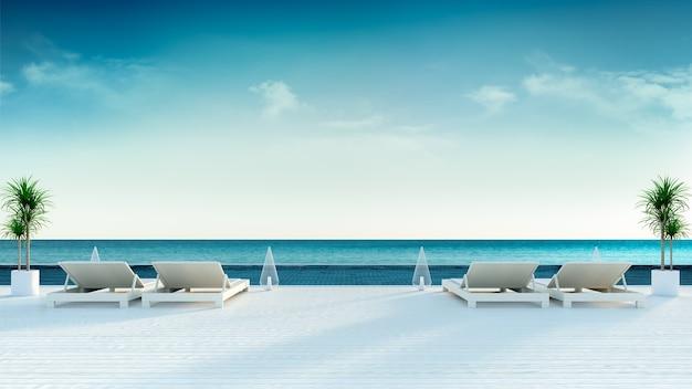Estate, sedie a sdraio sulla piattaforma per prendere il sole in villa di lusso / rendering 3d