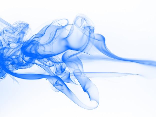 Estratto blu del fumo su fondo bianco