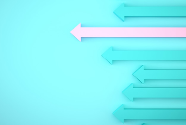 Estratto del grafico rosa della freccia su fondo blu, piano di crescita futuro corporativo. sviluppo del business verso il successo e concetto di crescita in crescita.