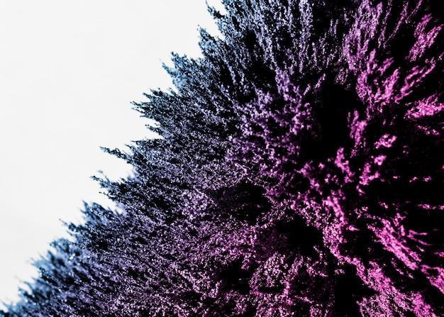 Estratto di rasatura metallica magnetica viola e blu sul contesto bianco