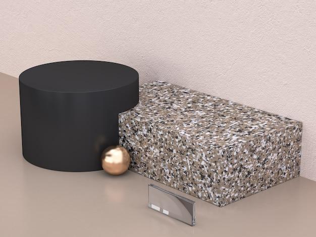 Estratto minimo di figura di marmo nero nero della priorità bassa della rappresentazione 3d