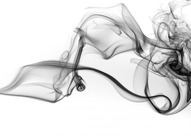 Estratto nero del fumo su fondo bianco, acqua nera dell'inchiostro