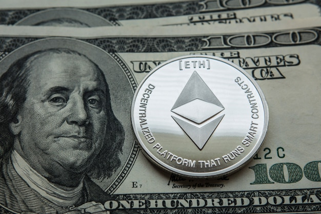 Ethereum. crypto currency ethereum. moneta ethereum su carte di cambio.