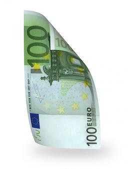 Euro piegato della fattura isolato su bianco