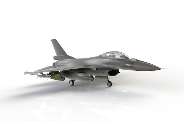 F16, aereo di combattimento militare americano su fondo bianco, rappresentazione 3d