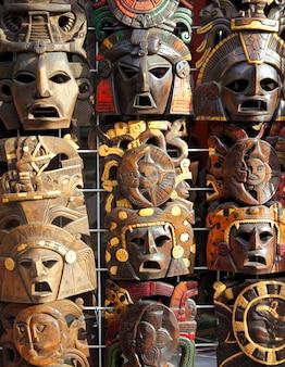 Facce di legno fatte a mano di maschera messicana di legno
