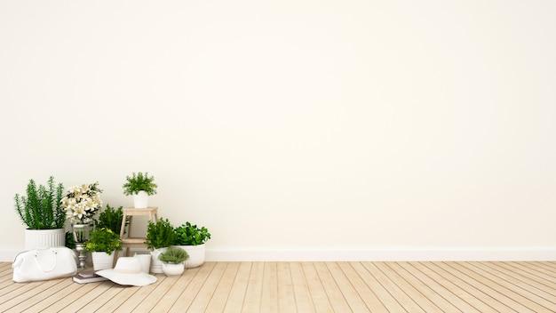 Faccia il giardinaggio in appartamento o nella caffetteria - rappresentazione 3d