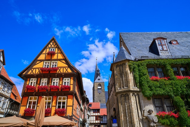 Facciata di rathaus quedlinburg in harz germania