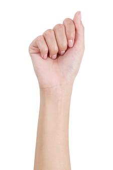 Facciata frontale di gesto di mano del pugno della donna isolata su bianco