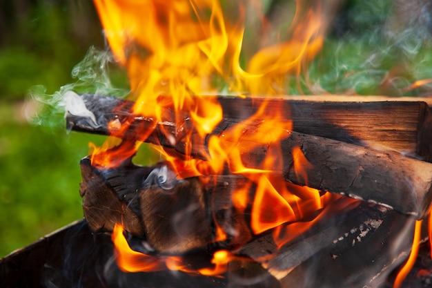 Falò. fiamma arancione di un fuoco.