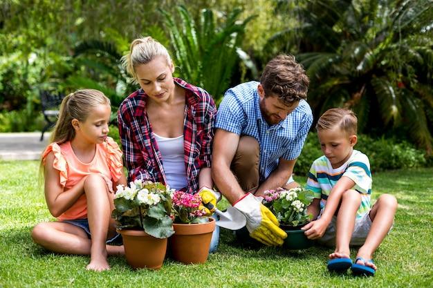 Famiglia che fa il giardinaggio con i vasi da fiori all'iarda