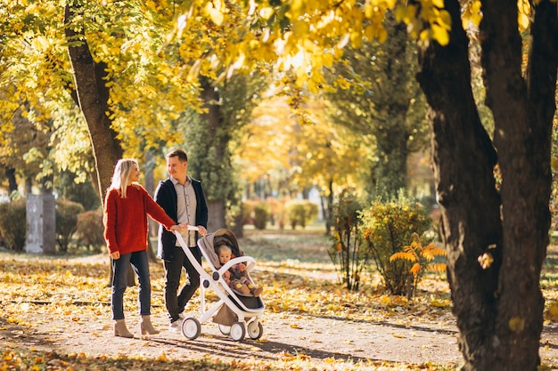 Famiglia con il bambino daugher in una carrozzina che cammina un parco di autunno