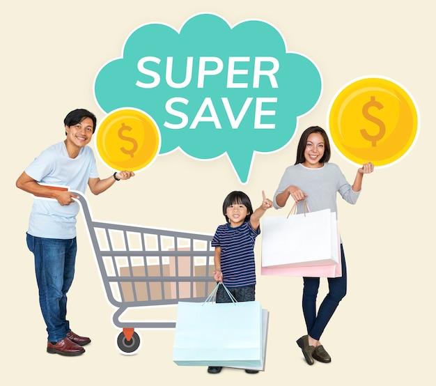 Famiglia con un affare super-risparmiatore