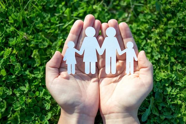 Famiglia di carta in due mani sul fondo dell'erba verde