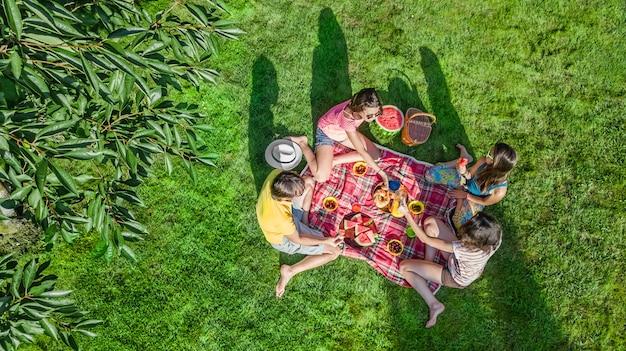 Famiglia felice con bambini che hanno picnic nel parco, genitori con bambini seduti sull'erba del giardino e mangiare pasti sani all'aperto, vista aerea del drone dall'alto, vacanze in famiglia e concetto di fine settimana