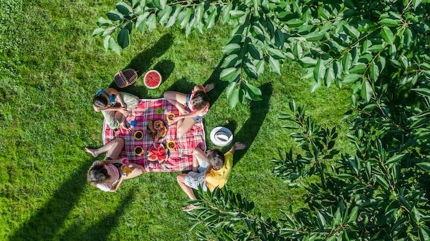Famiglia felice con i bambini che hanno picnic nel parco, genitori con bambini seduti sull'erba del giardino e mangiare pasti sani all'aperto