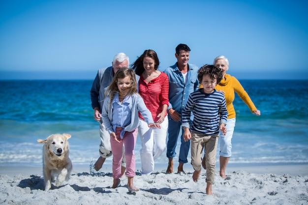 Famiglia felice con il loro cane in spiaggia