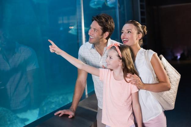 Famiglia felice guardando squalo