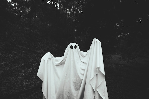 Fantasma cupo con alzando le mani in piedi nella foresta