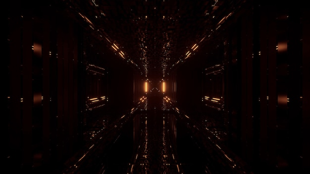 Fantastico sfondo futuristico con luci lampeggianti dorate