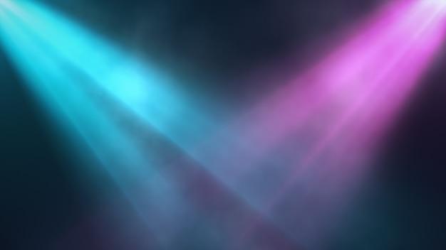 Faretti luminosi colorati brillano nella scena in fumo, sfondo di concerto. illustrazione 3d