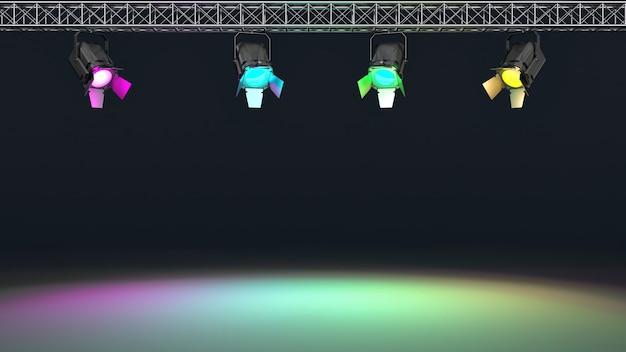 Faretti multicolore illuminati a parete.